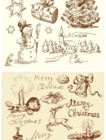 Vector Vintage Illustration Christmas Vector Graphics