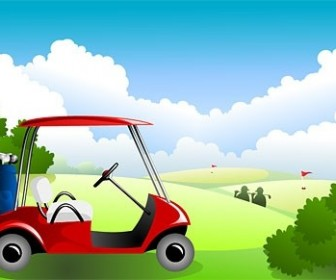 Vector Golf Course Under The Blue Sky Vector Art
