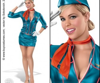 Vector Pinup Stewardess People Vector Art