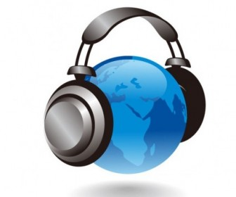 Vector 3D Earth Globe With Headphones Graphic Vector Art