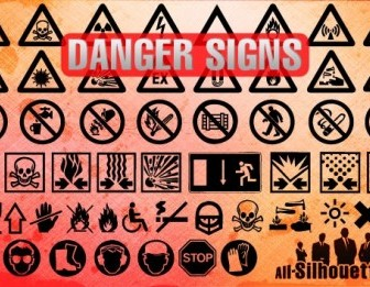 Vector Danger Signs Silhouettes Vector Graphics