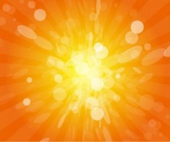 Vector Sun Beams With Orange Yellow Blurred Vector Art