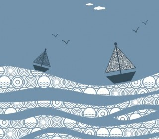 Vector The Sea Boat Decorative Painting Vector Art