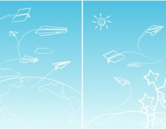 Vector Line Paper Airplane Graffiti Vector Art