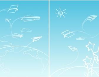 Vector Line Paper Airplane Graffiti Vector Art