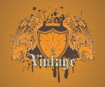 Vector Cool Heraldic Lion Shield Vector Art