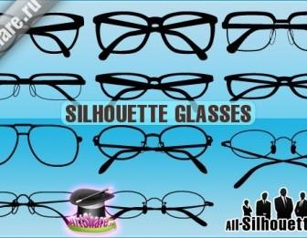 Vector Silhouette Glasses Silhouettes Vector Graphics