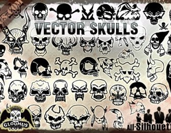 Vector Skulls Clipart Silhouettes Vector Graphics