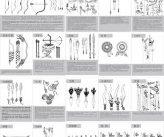 Vector Tibetan Buddhist Symbols And Objects Map Of The Nine Weapons Vector Art