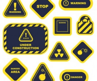 Vector Yellow Warning Signs And Labels 02 Vector Art