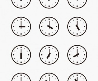 Vector Set Of Wall Clocks With Another Times Vector Art