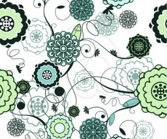 Vector Retro Seamless Floral Illustration Background Vector Art