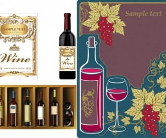 Vector Bottles Paste And Vintage Wine Posters Vector Art