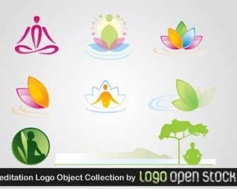 Vector Meditation Logo Object Collection Vector Art