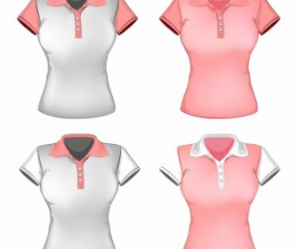 Vector Women Polo Shirt Template Vector Art