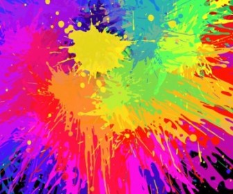 Vector Colourful Bright Ink Splat Design Vector Art