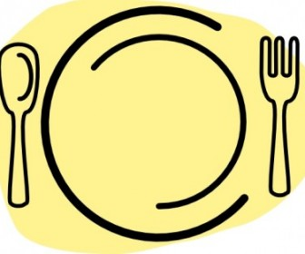 Vector Iammisc Dinner Plate With Spoon And Fork Vector Clip Art