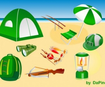 Vector Camping, Hunting And Fishing Pack Vector Art