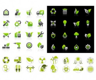 Vector Green Set Icon Vector Graphics