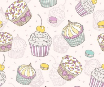 Vector Cartoon Dessert 02 Background Vector Art