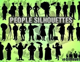 Vector People Silhouettes Vector Graphics