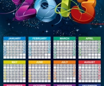 Vector Calendar 2013 New Year Vector Art