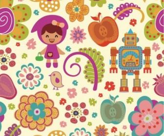 Vector Pattern Cute Cartoon Flowers Flower Vector Art