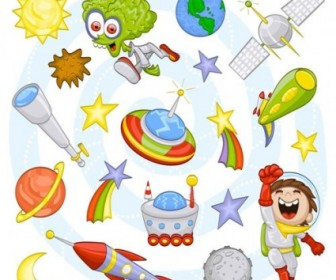 Vector Cartoon Space 02 Pattern Vector Art