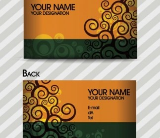 Vector Fashion Business Card Template 03 Pattern Vector Art