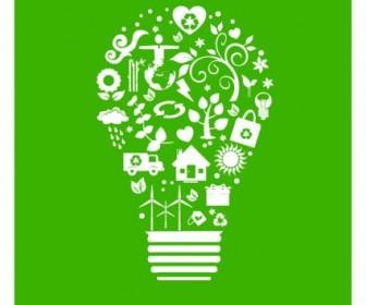 Vector Recycle Light Bulb Vector Art