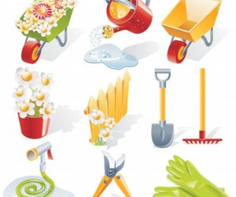 Vector Gardening Tools Landscape Vector Graphics