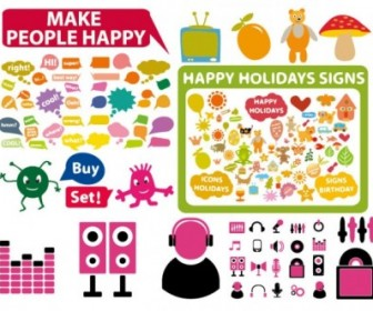 Vector 3 Sets Of Cute Style Icon Vector Graphics