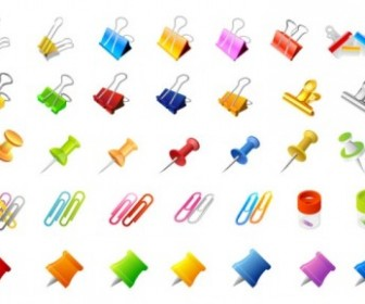 Vector Office Supplies And Pins Of The Clip Vector Art