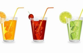 Vector Glass Of Fruit Juice With Ice Vector Art