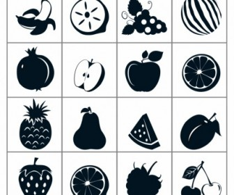Vector Black Fruit Icons Icon Vector Graphics