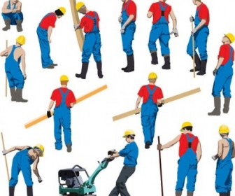 Vector Workers Silhouette Silhouettes Vector Graphics