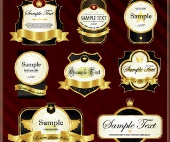 Vector Gorgeous Gold Label Vector Art