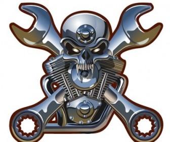 Vector Metallic Skull Vector Art