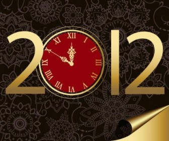 Vector New Year 2012 With Clock Vector Art