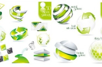 Vector 2 Sets Of Green Dimensional Icon Vector Graphics