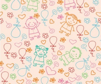 Vector Kids Pattern Vector Art