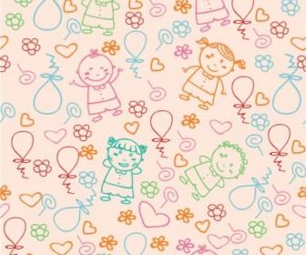 Vector Kids Pattern Vector Art