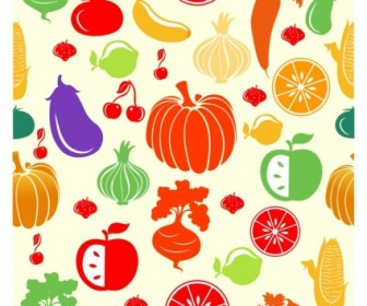 Vector Fruit And Vegetable Pattern Vector Art