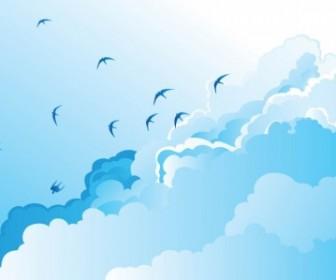 Vector Birds In The Sky Vector Art