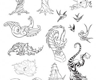 Vector Tattoo Set Vector Art
