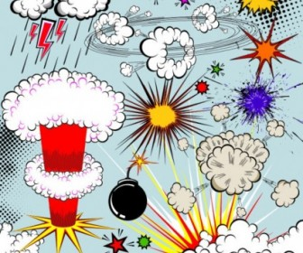 Vector Cartoon Explosion 02 Pattern Vector Art