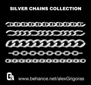 Vector Silver Chains Collection Vector Art