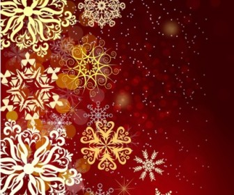 Vector Red Christmas With Snow Background Vector Art