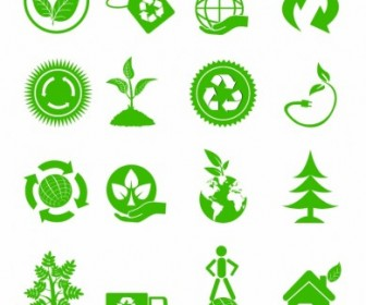 Vector Green Ecology Icons Icon Vector Graphics