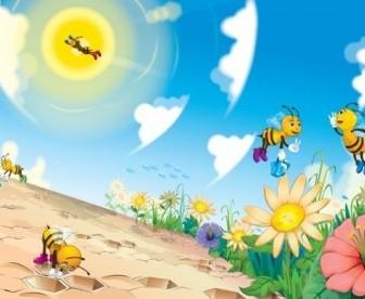 Vector Cute Bee Cartoon Vector Art